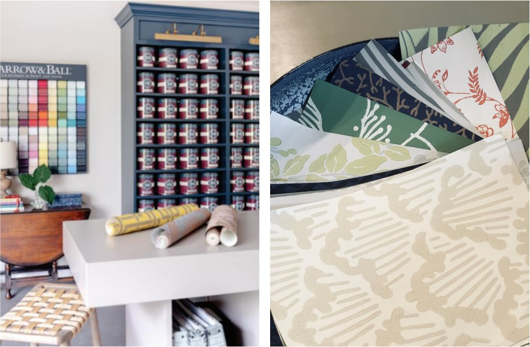 Farrow and Ball paint and wallpaper display