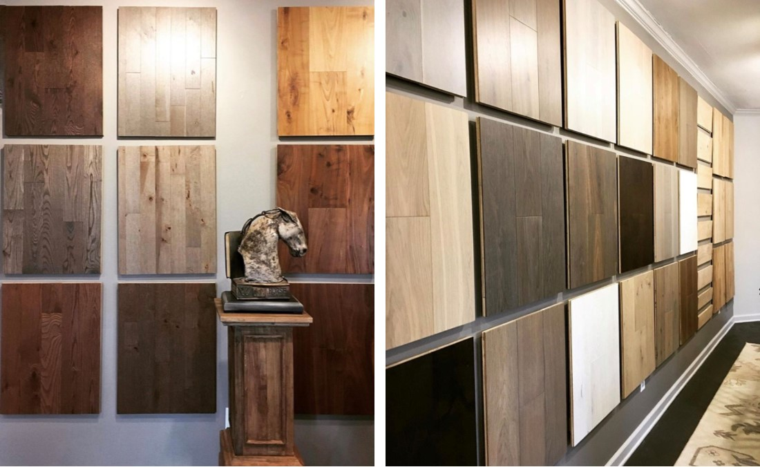 Hardwood floor collection on display